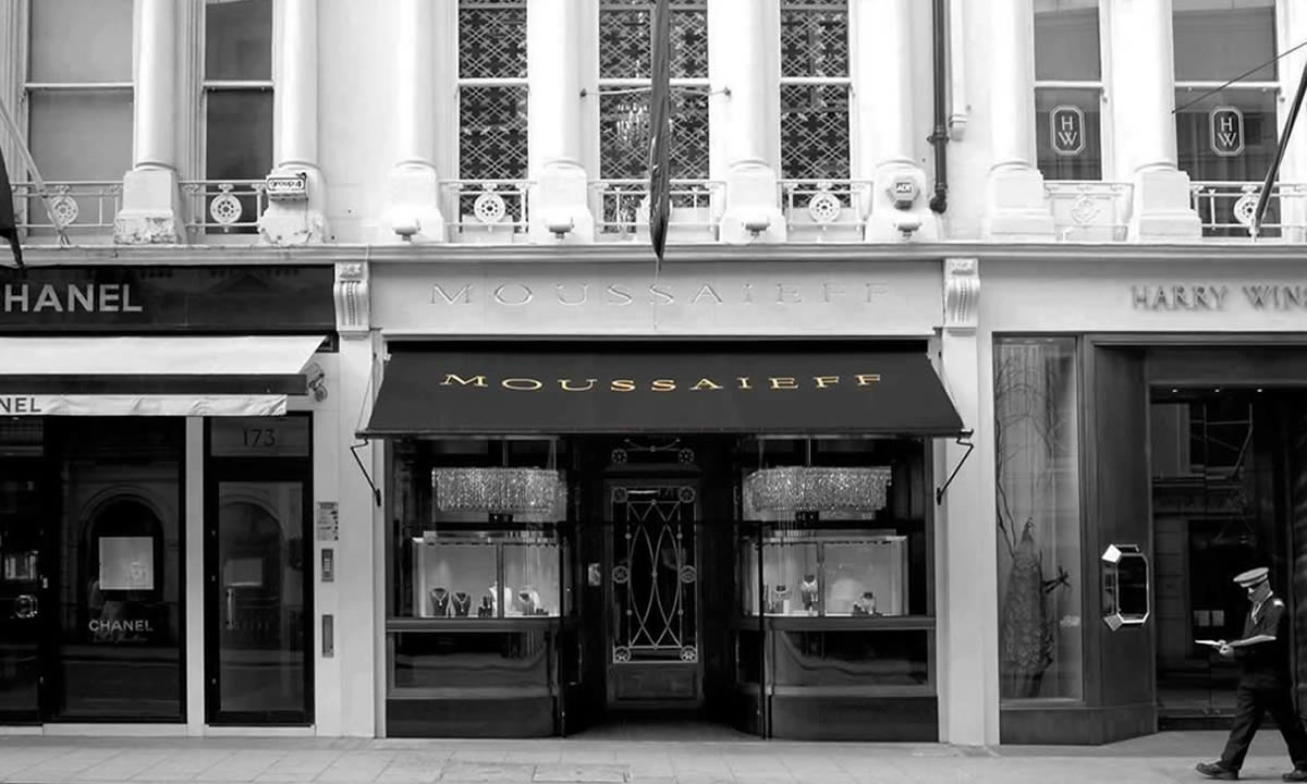 Shop awning for Bond Street jewellers
