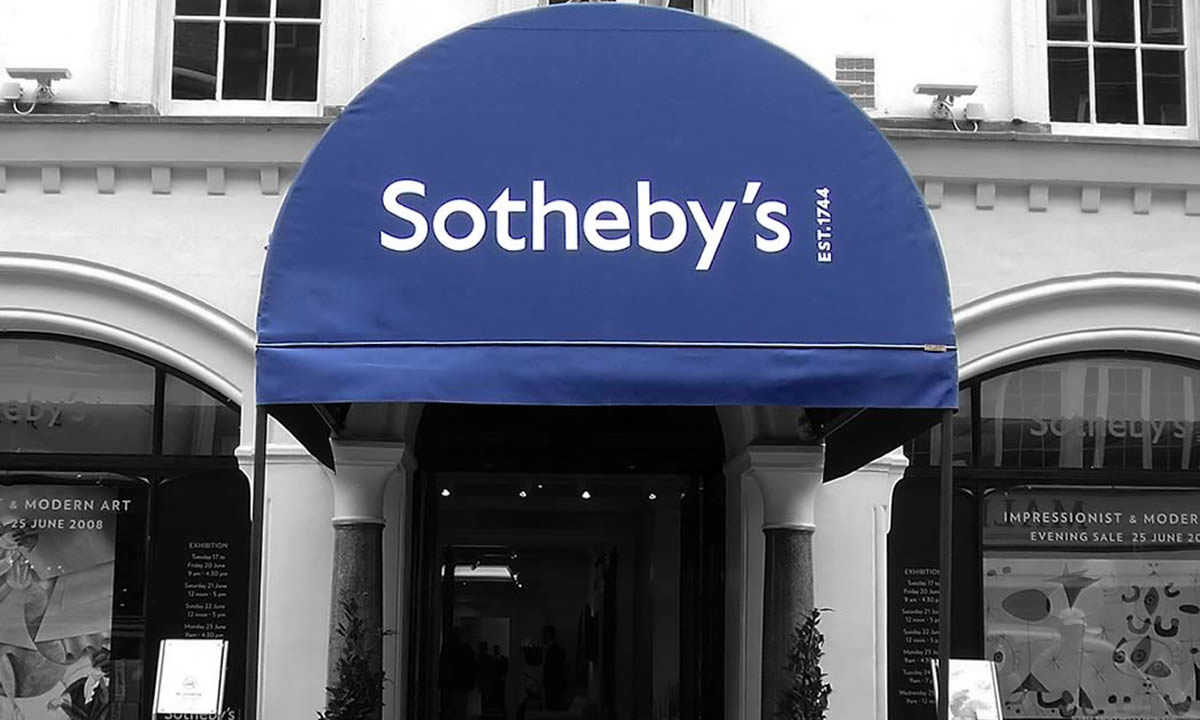 business awnings our Rib Entrance® for Sotheby's in Mayfair