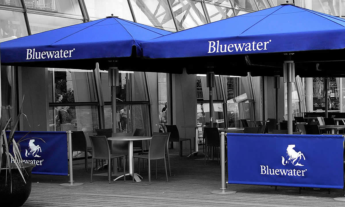 commercial awning, parasols, cafe barriers in Bluewater shopping centre