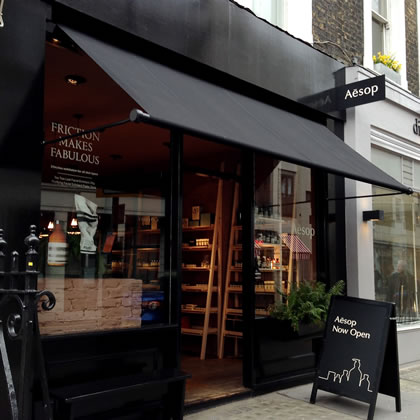 Neat edge Regency shop awning for Aesop