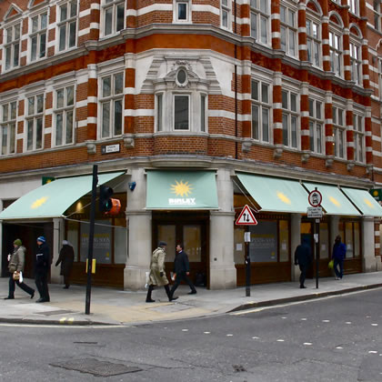 Victorian Awnings for Birley Sandwich Shop in London Wall