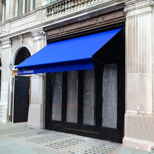 Restaurant awning in Mayfair