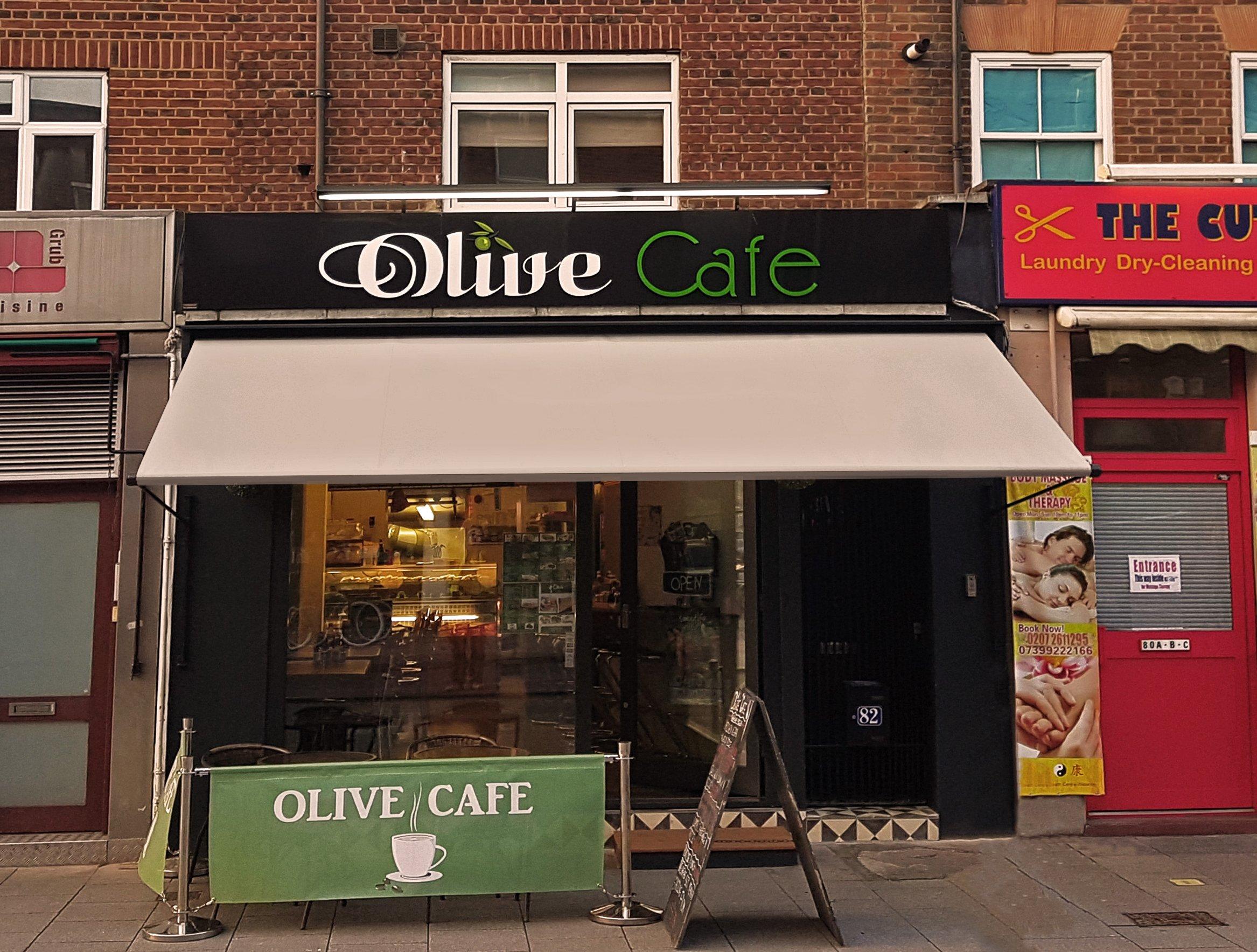 Olive cafe awning