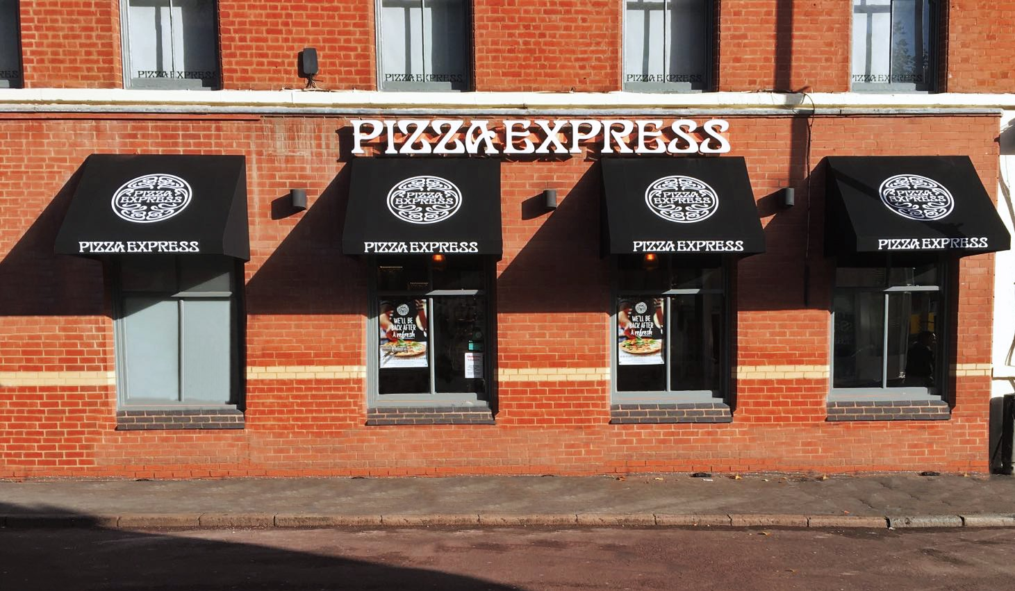 Wedge canopies at Pizza Express Leicester