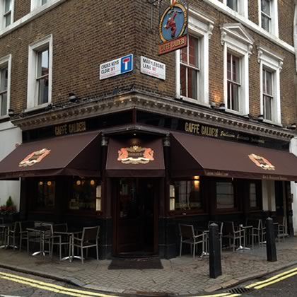Restaurant awnings used for the new Marylebone bar and restaurant