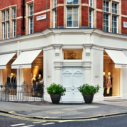 Our newest awning the Marlsbury Awning® for Erdem flagship store