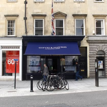 Refurbished shop awning Canopy for Gieves & Hawkes