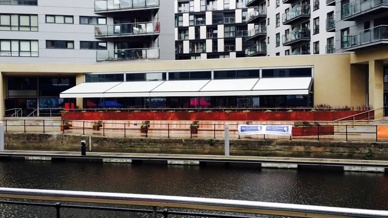 Commercial retractable awnings for Leeds Dock 1