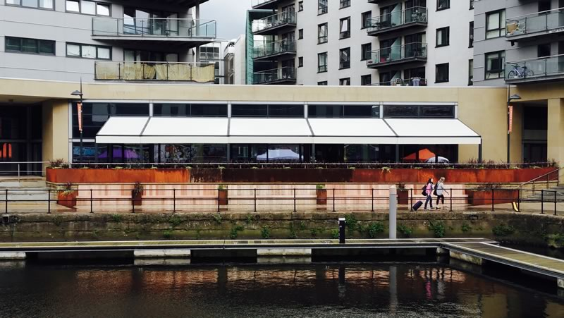Commercial retractable awnings for Leeds Dock 2