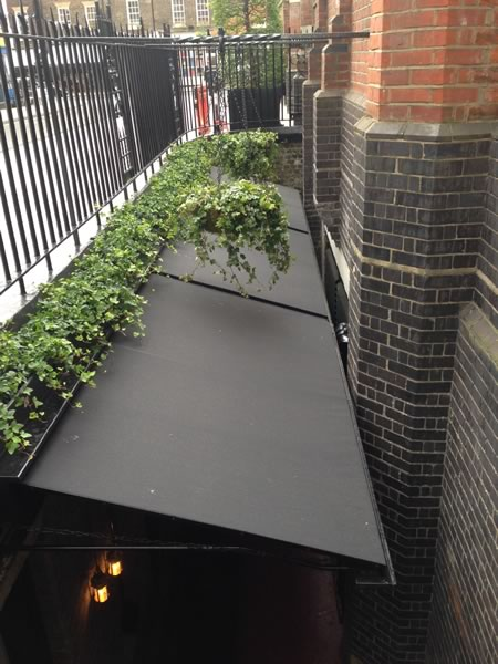 Secret terrace awning at The Chiltern Firehouse