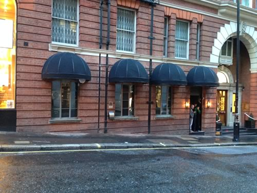 Bespoke bar awning for Rififi Club by Morco
