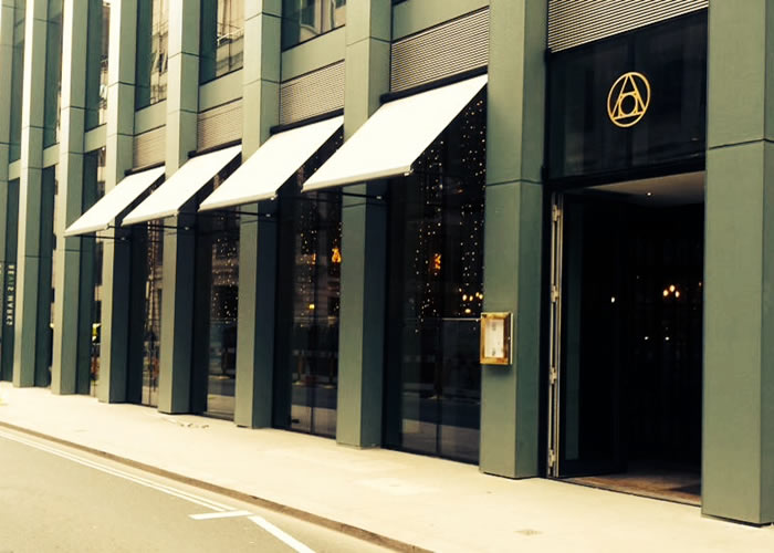 Classic Folding-Arm awning for The Alchemist restaurant in EC3