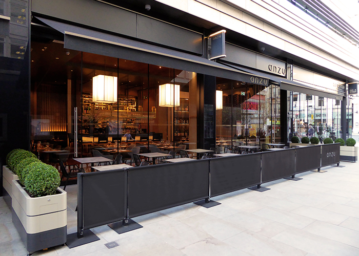 Wallstreet Fabric Barriers for Anzu Restaurant, St James's Market