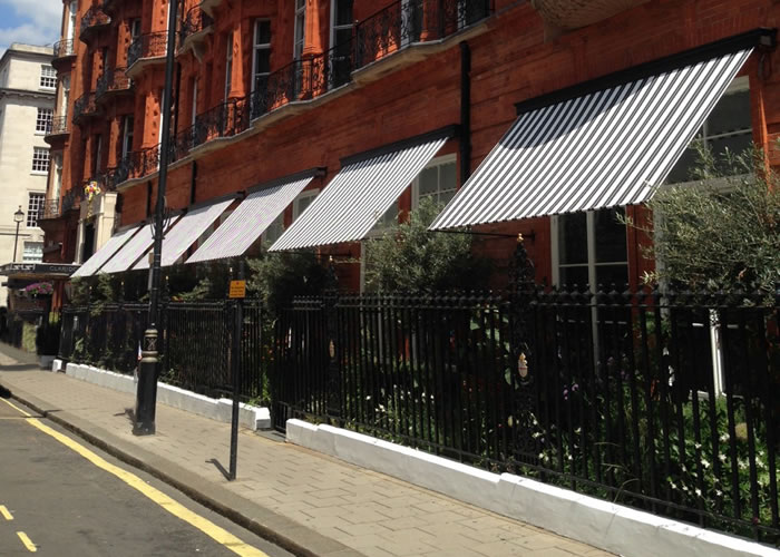 Elegant Marlesbury Awning® recreated by Morco for World-famous Claridges
