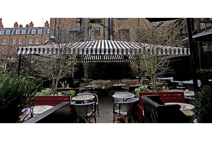 Bespoke Fremantle Urban® terrace awning incorporating Parisian® top awning for The Chiltern Firehouse@Marylebone