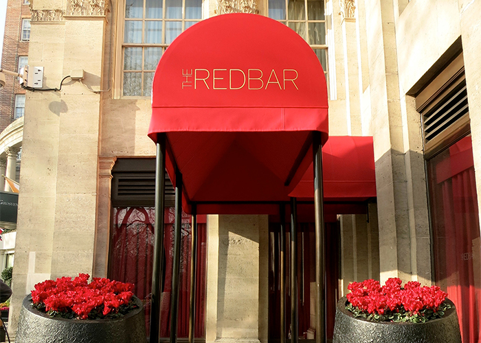 The bull nose Rib Entrance Canopy® is a popular choice for hotel awnings