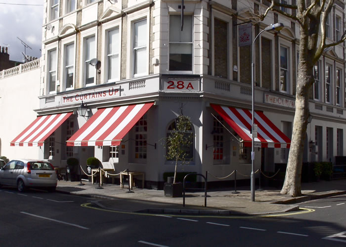 Victorian Pub Awning with bespoke canvas for The Curtains Up