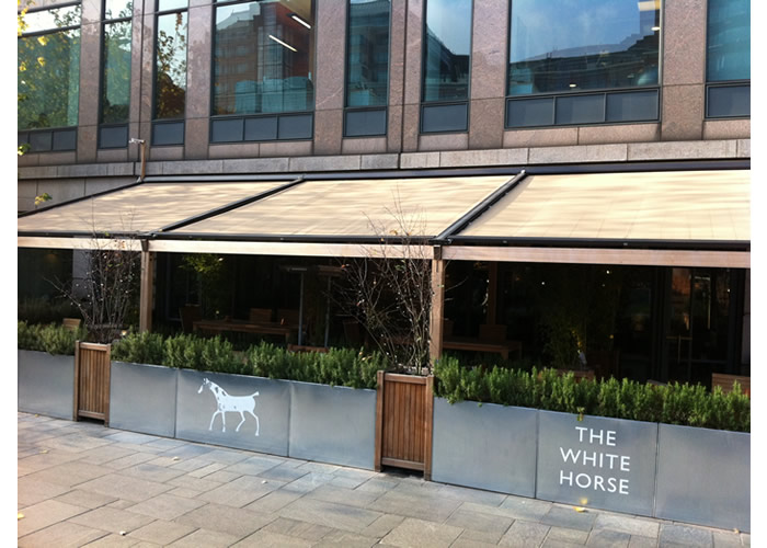 Custom built Sepele Terrace Awning for The White Horse