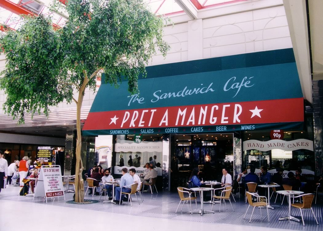 Branded shopping plaza awnings for leading brands