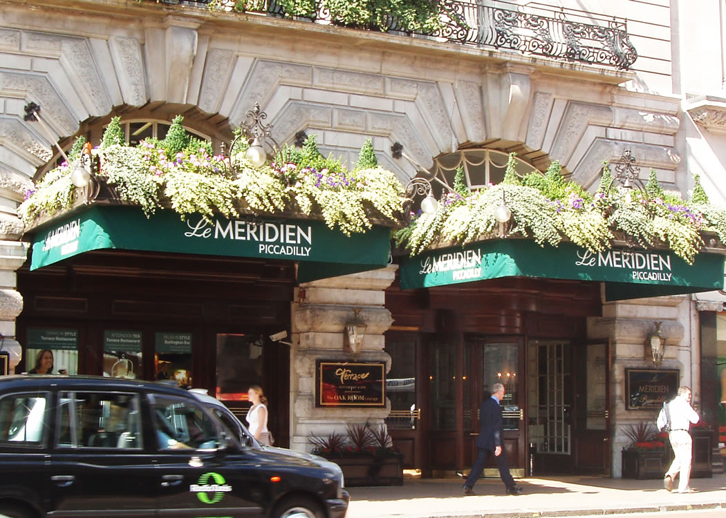 The famous Le Meridian entrance canopies in Piccadilly, London