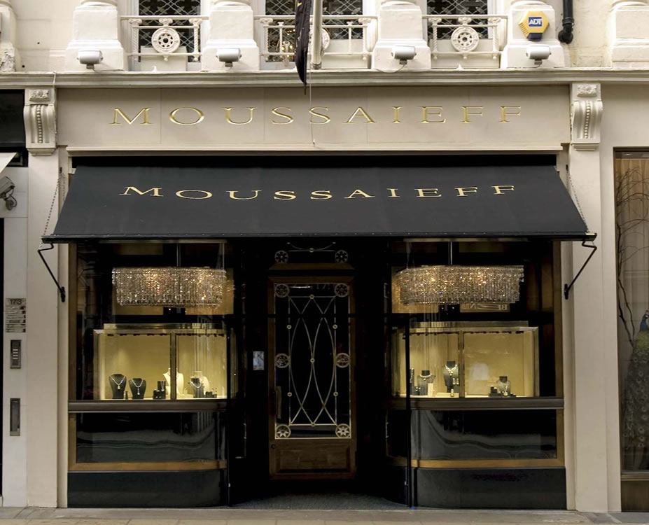 Victorian awning for Bond Street jewellers Moussaieff