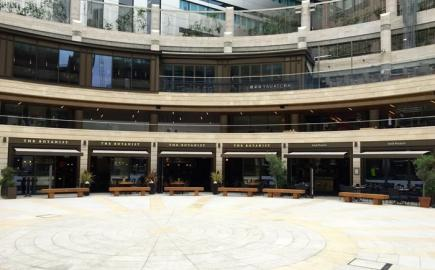 Broadgate Circle with our bespoke Shop-Fitted Folding Arm awnings