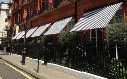 Elegant Marlesbury Awning® recreated by Morco for World-famous Claridge's