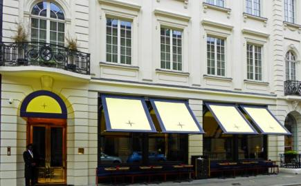 Victorian Awnings and Entrance Canopy at Isabels restaurant, with bespoke branding